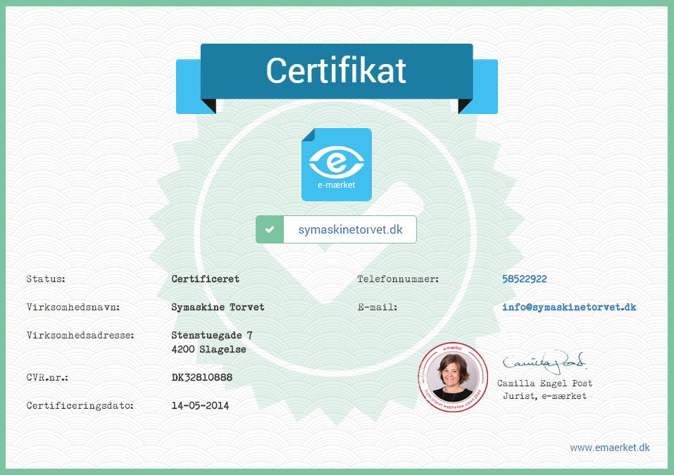 e-mærker certifikat - sikker handel med symaskiner