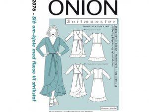 Onion snitmønster 2076 Slå om-kjole med volant til strikstof