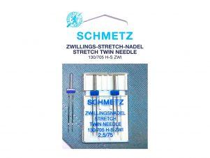 SCHMETZ Dobbelt / Tvillingenål - Strækstof (2.5 mm - Str. 75)