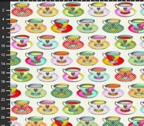 Tula Pink - tea time (hvid) Pr. Meter