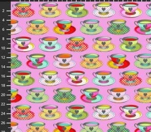 Tula Pink - Tea Time (lyserød) Pr. Meter