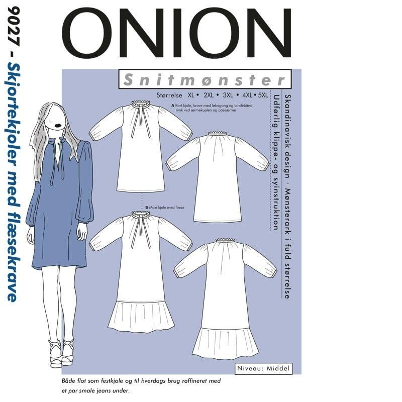 Onion Snitmønstre 9027 (Skjortekjoler med flæsekrave)