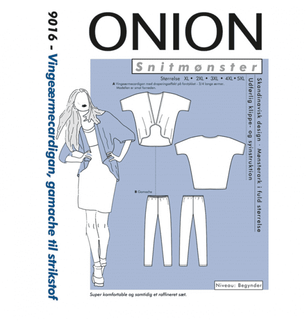 Onion Snitmønstre 9016 (Vingeærmecardigan, gamache til strikstof)