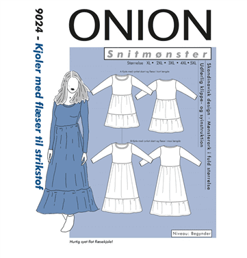 Onion Snitmønstre 9024 (Kjoler med flæser til strikstof)