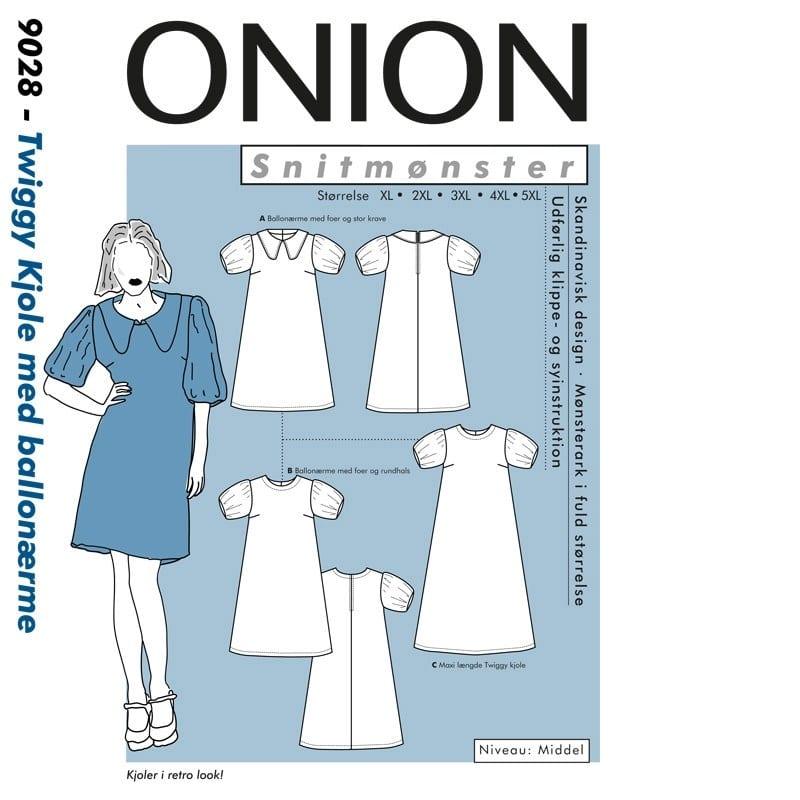Onion Snitmønstre 9028 (Twiggy kjole med ballonærme)