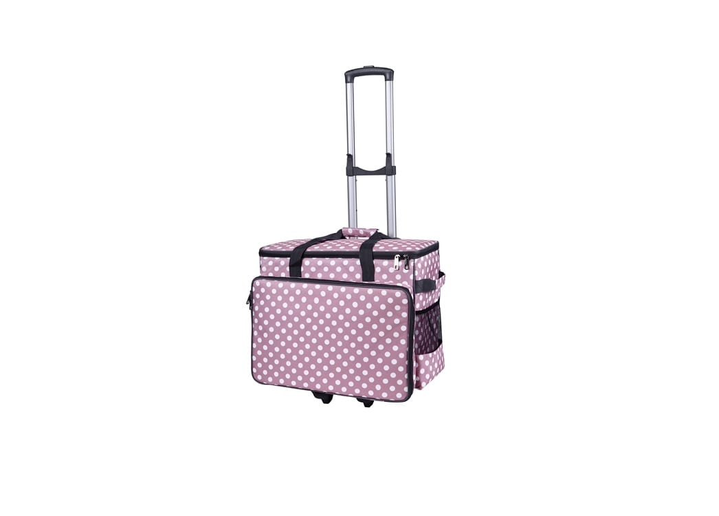 Taske Til Symaskine Inkl. Trolley (Pink & Hvid)