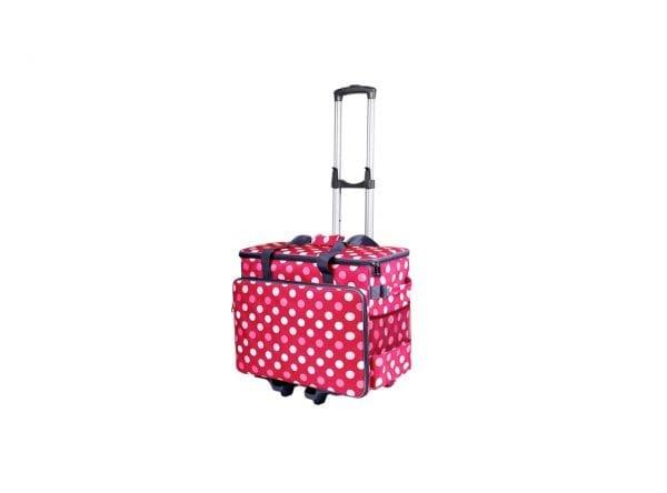 Taske Til Symaskine Inkl. Trolley (Rød & Hvid)